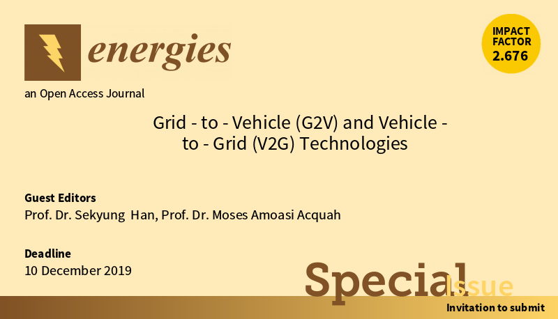 "Energies Special Issue ""Grid-to-Vehicle (G2V) and Vehicle-to-Grid (V2G) Technologies"""