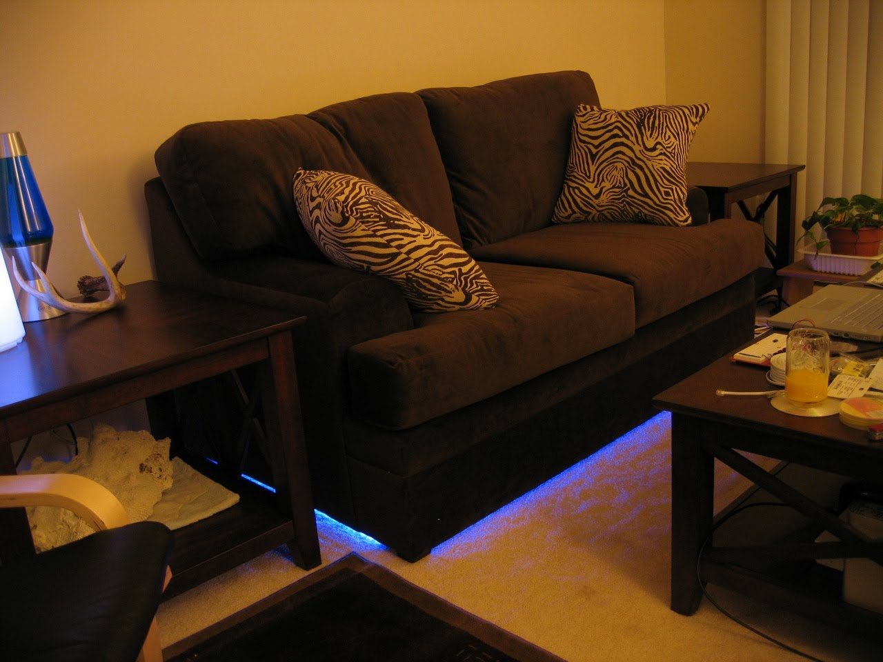 Loveseat with LED underglow