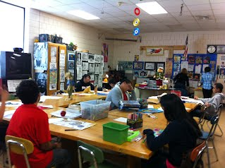 Students in art room at South High