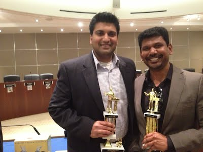 Ravi (left) was the runner-up for the Table Topics Area Contest on 3/9/13 Raghu (right)