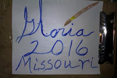 My signature Gloria in prussian blue paint for year 2016 painted by me Gloria Poole,RN,artist of/in Missouri