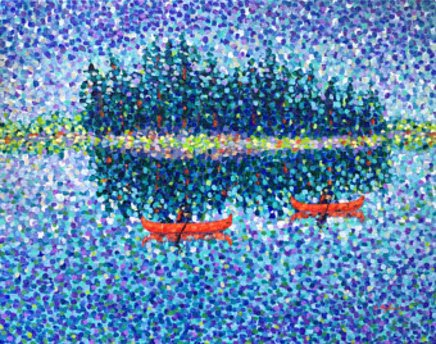 Red Canoes - original painting by CStefan - ArtStudio29