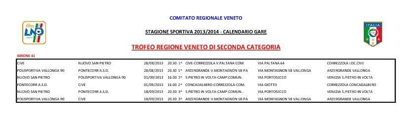 Calendario Seconda Categoria Veneto.Trofeo Regione Veneto Di 2 Categoria 2013 2014 A S D