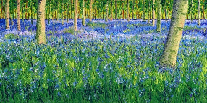 expressionist painting bluebell forest II