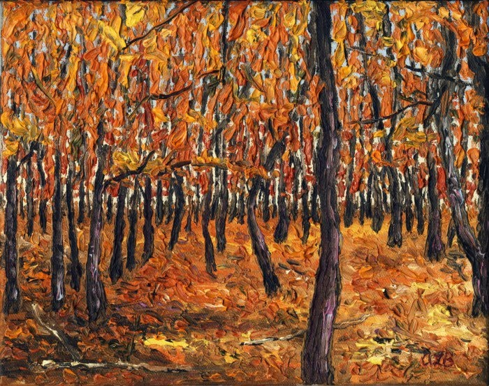expressionist painting forest preserve fall