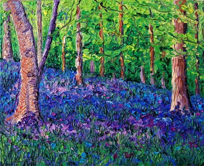 expressionist painting bluebell forest I