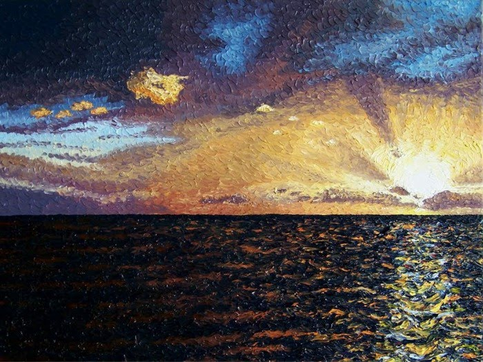 expressionist painting ocean sunset