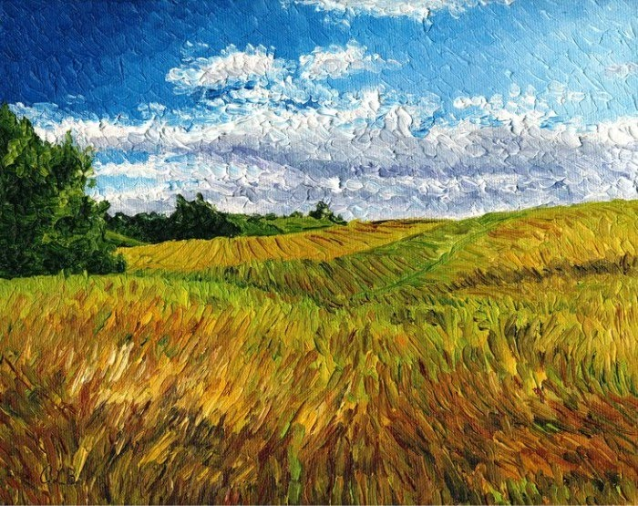 expressionist painting field of grass