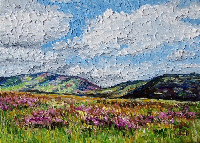 expressionist painting hillside with flowers