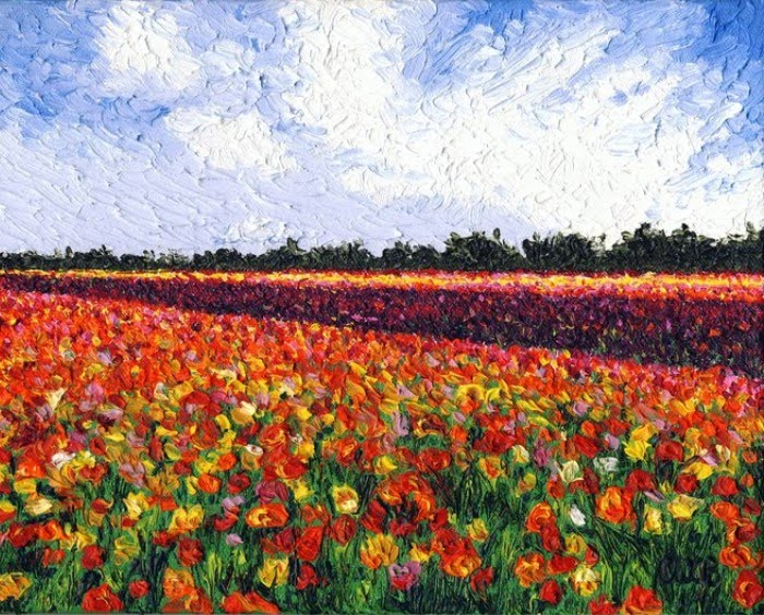 expressionist painting field of ranunculus