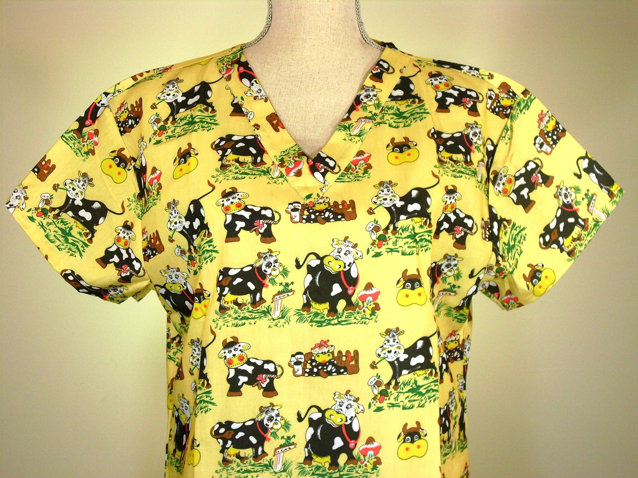 NEW Medical Uniform Scrubs Top Novelty Print Pastoral Cows ...