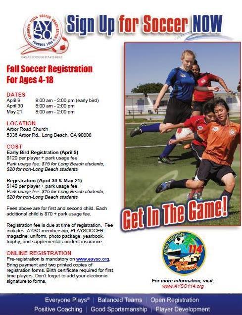 Registration Info Ayso Region 114 Long Beach