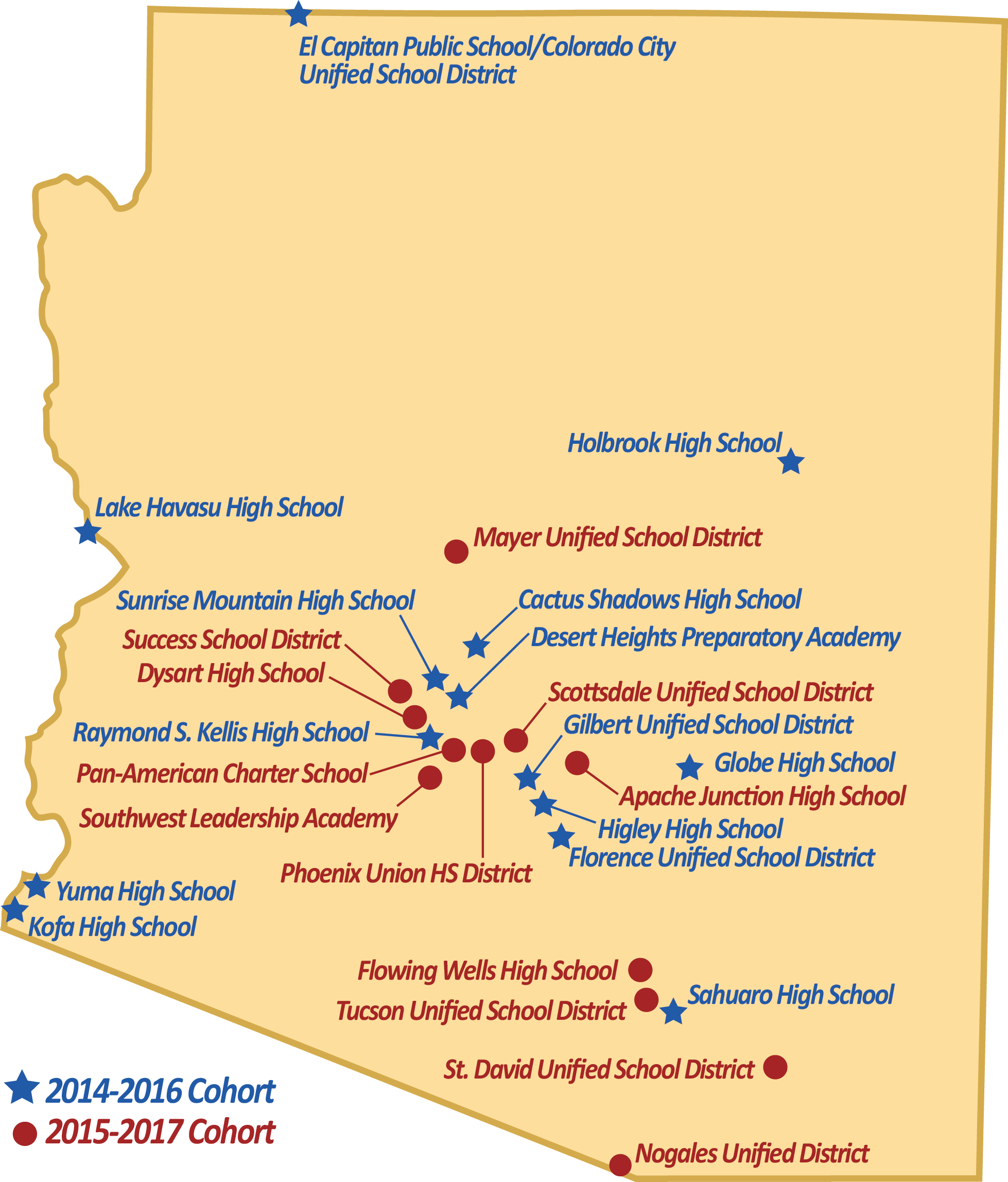 Map of Arizona participating districts