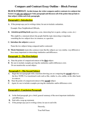 Write thesis comparing contrasting essay
