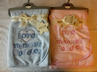 1 x  baby blanket blue or pink. Was £15.00 now only £10.00