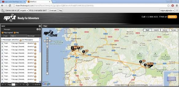 Ivan's boxing day launch in Spain - SPOT tracking