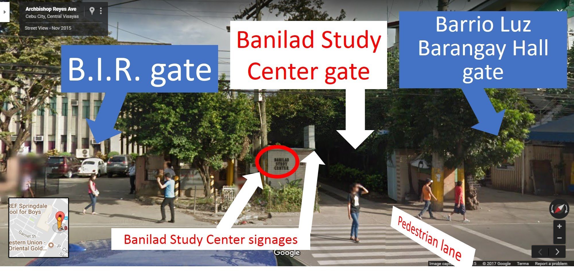 """Our gate has a signage """"Banilad Study Center"""" in it's limestone wall.  Ask the guard to let you in thru the gate.  Our center is about 200 meters inside through the gate."""