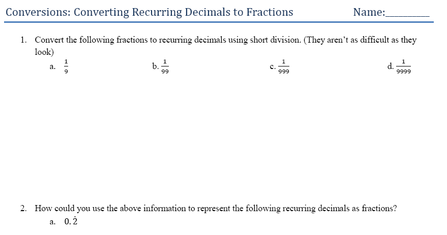 math worksheet : problem solving recurring decimals  bentleigh and beyond : Recurring Decimals Worksheet