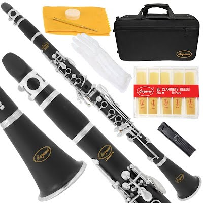 Lazarro 150-BK-S - BLACK Ebonite/SILVER Keys Bb B flat Clarinet 11 Reeds
