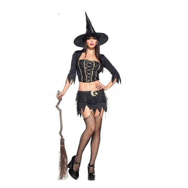 WOMENS LADIES CLASSIC BEWITCHED HALLOWEEN WITCH COSTUME FANCY DRESS OUTFIT