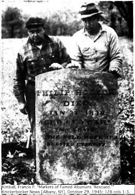 Weisenforth and Littlejohn with Philip Hooker headstone from Knickerbocker News