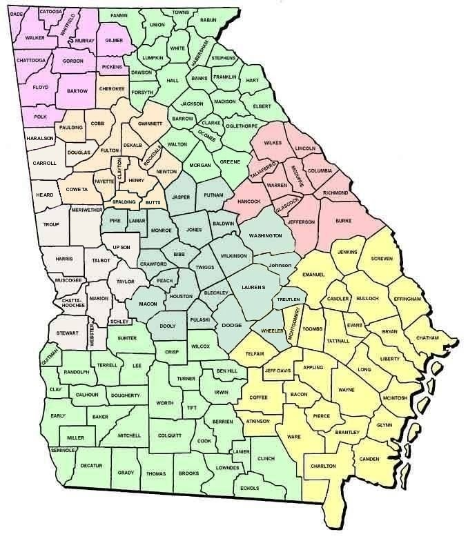 Georgia Map Divided By Counties My Blog - Counties of georgia map