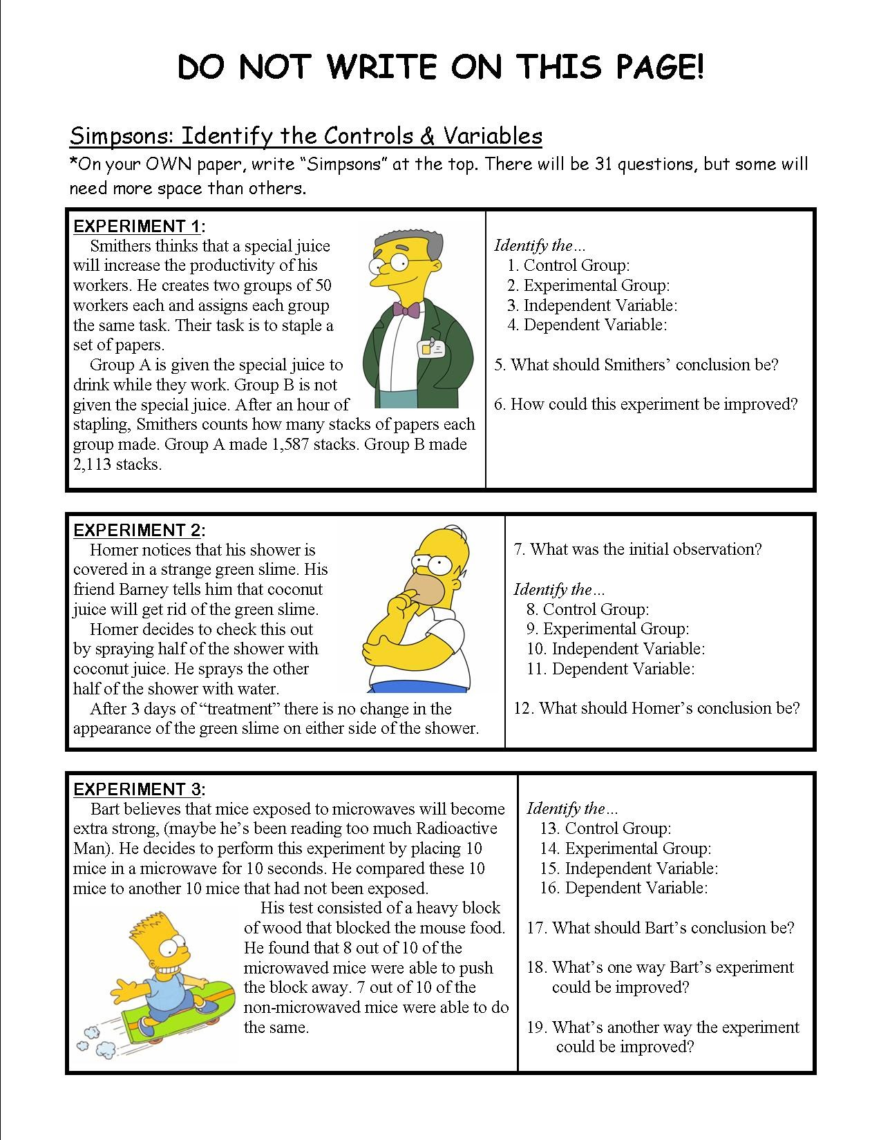 worksheet Simpsons Scientific Method Worksheet simpsons scientific method worksheet answers free worksheets controls and variables for school pigmu