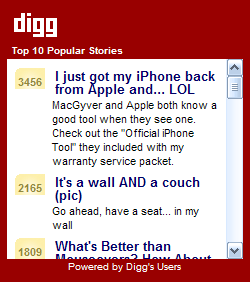 Top 10 Digg.com list from All Topics
