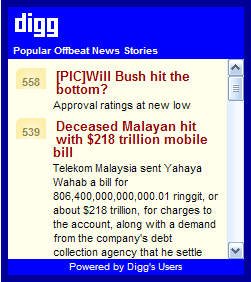Popular Digg.com Offbeat News Stories