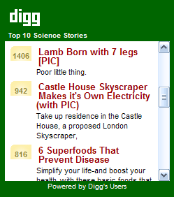 Top 10 Digg.com Science Stories