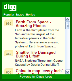 Popular Digg.com Space Stories