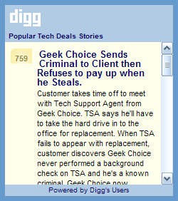 Popular Digg.com Tech Deals Stories