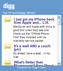 Top 10 Digg.com Technology Stories