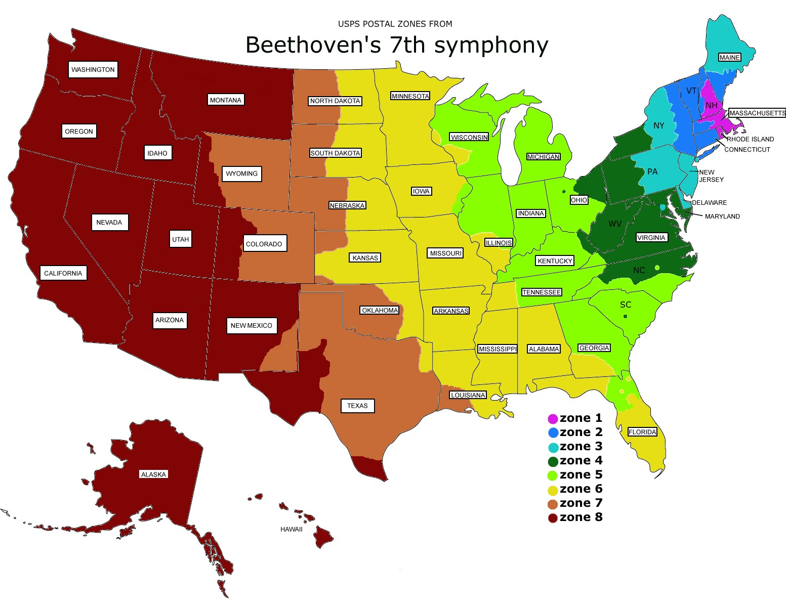 Usps Priority Mail Map Postal ZONES map   Beethoven's 7th symphony