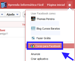 alterar cor do Facebook