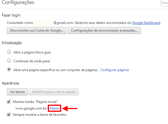 alterar página inicial do Chrome