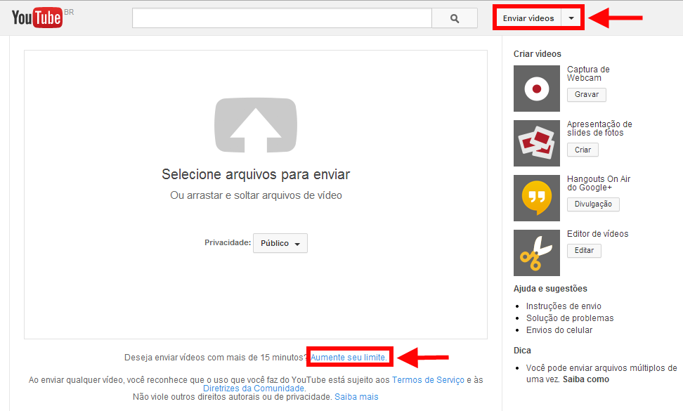 aumentar limite de vídeos do Youtube