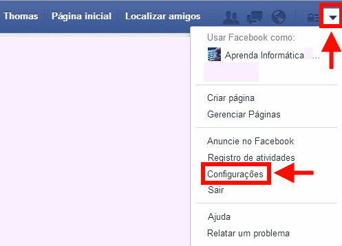menu superior- Configurações do Facebook
