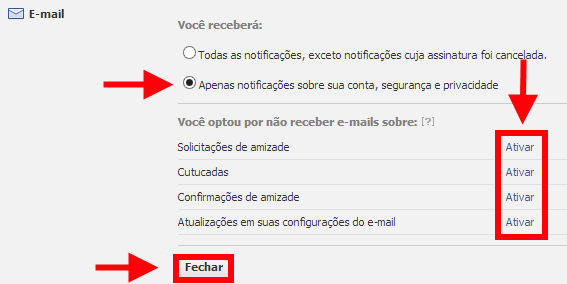 configurar notificações de e-mail do Facebook