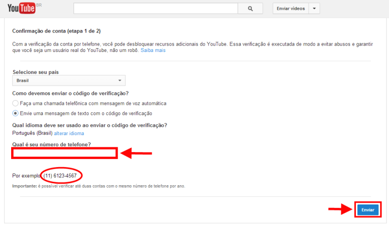 confirmar conta do Youtube