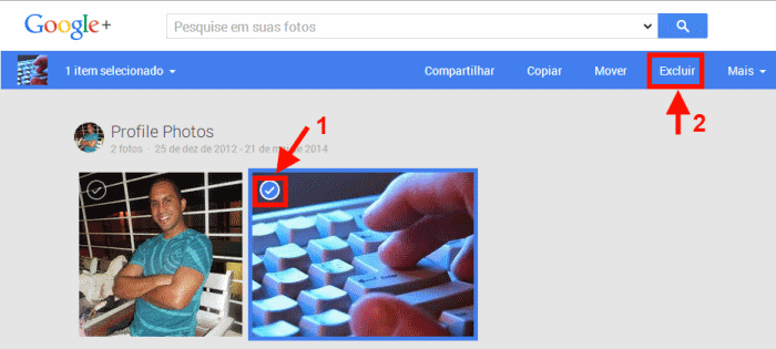 excluir foto do perfil do Google+