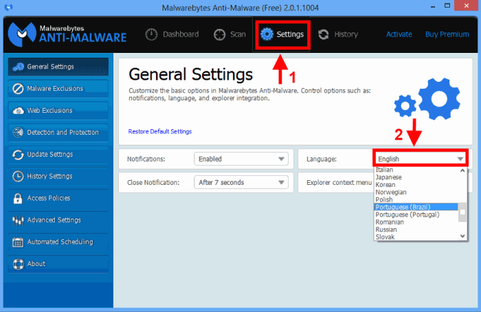 Alterando o idioma do Malwarebytes anti-Malware