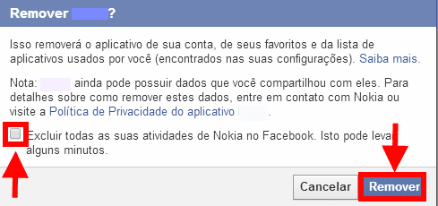 remover aplicativo do Facebook