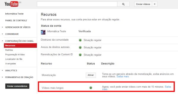 vídeos mais longos do Youtube ativado