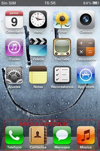 Iconos en la barra inferior del iPhone 3GS