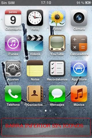 Barra inferior del iPhone 3GS sin iconos en ella
