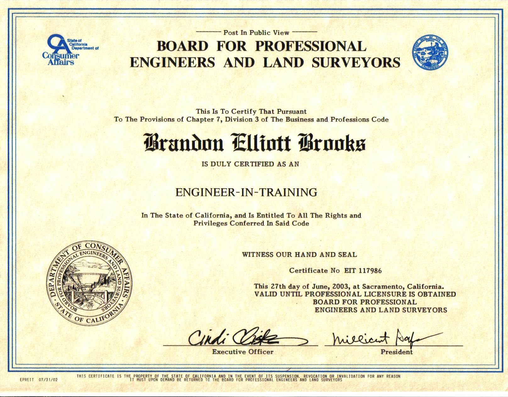 Resume bmoney422 professional certificate engineer in training eit xflitez Gallery
