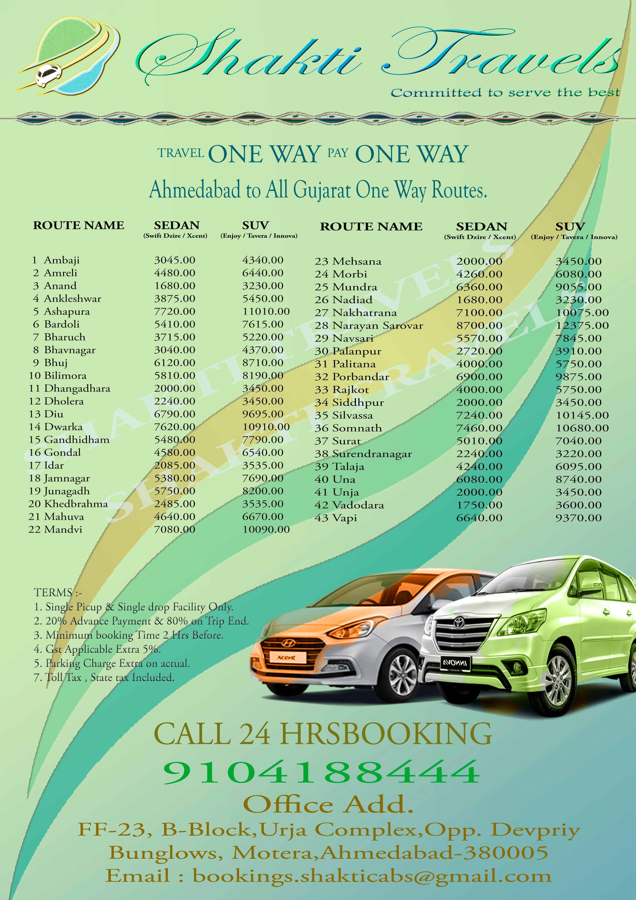 One Way Routes Shakti Travels Taxi Service