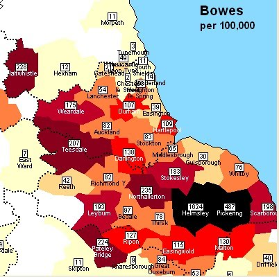 England Bowes Surname Distribution 1881 by Poor Law Union (Helmsley PLU)