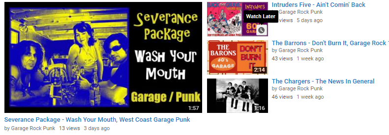 YouTube 60's Garage Punk Rock Channel
